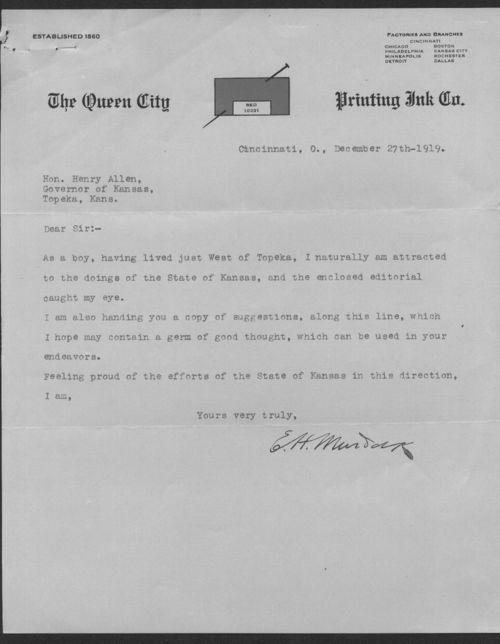 E.H. Murdock to Governor Henry Allen correspondence and miscellaneous - Page