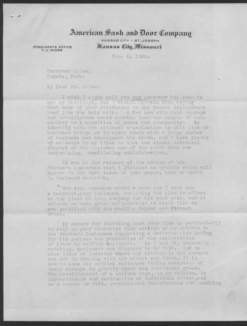 F.J. Moss to Governor Henry Allen - Page