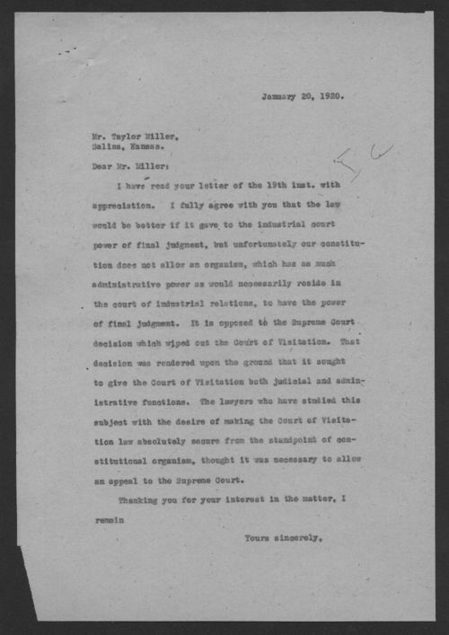 Governor Henry Allen to Taylor Miller - Page