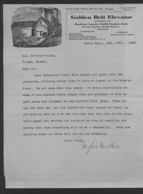 Taylor Miller to Governor Henry Allen - Page