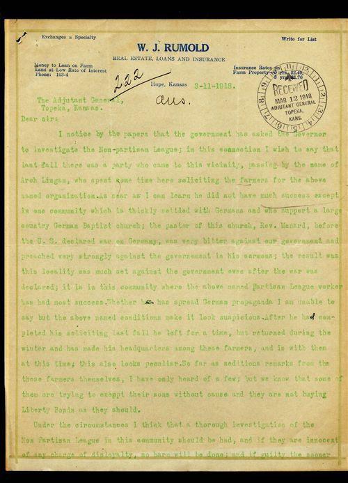 W.J.Rumold to the Adjutant General of Kansas - Page