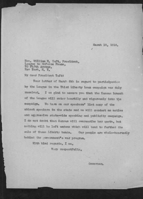 Governor Arthur Capper to William Howard Taft - Page