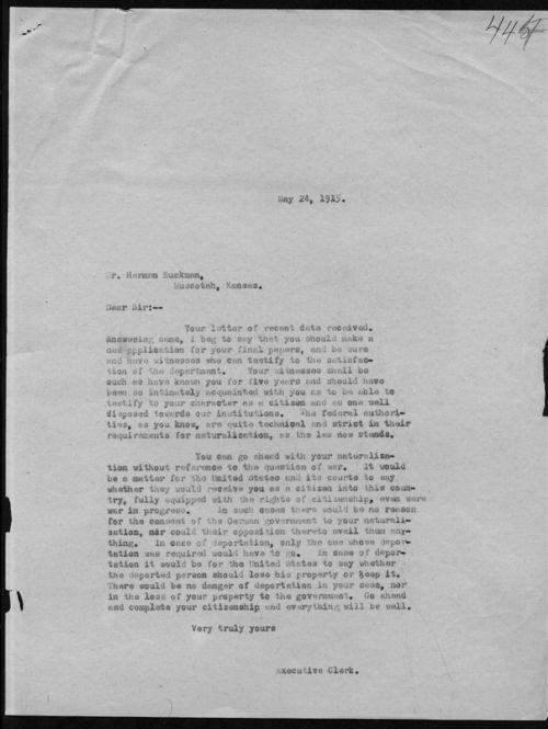 Executive Clerk to Herman Buckman - Page