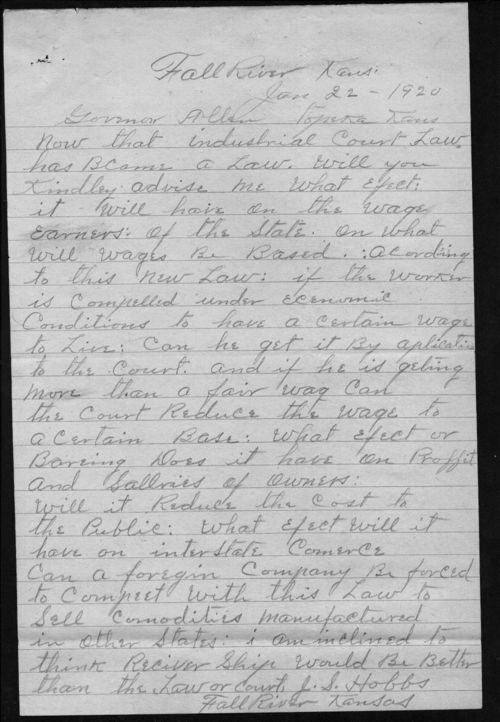 J.S. Hobbs to Governor Henry Allen - Page