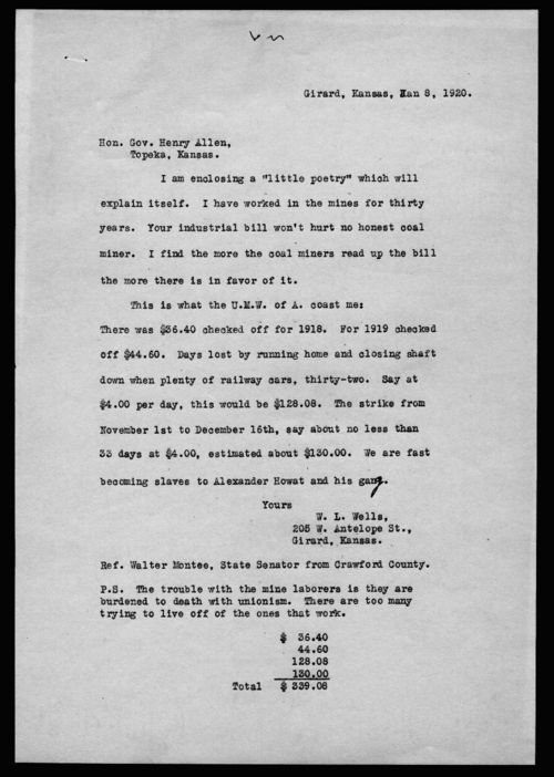W.L.Wells to Governor Henry Allen - Page