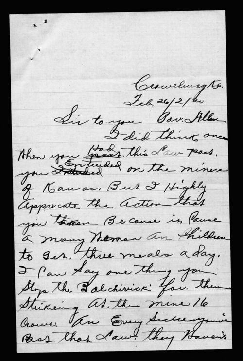 W.M. Nelson to Governor Henry Allen - Page