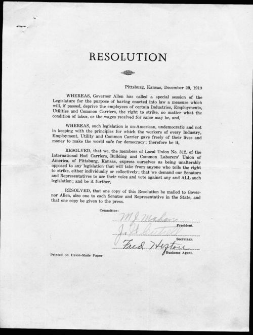 Resolution from the Local Union No. 312, International Hod Carriers, Building and Common Laborers' Union of America - Page