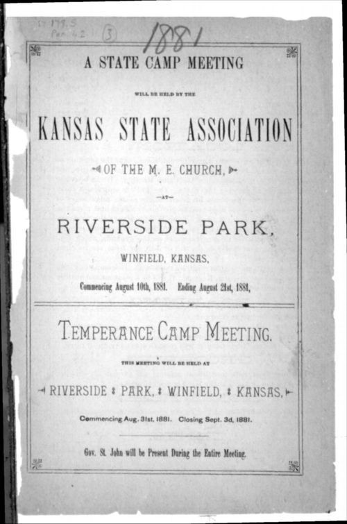 A state camp meeting will be held by the Kansas State Association of the M.E. Church - Page