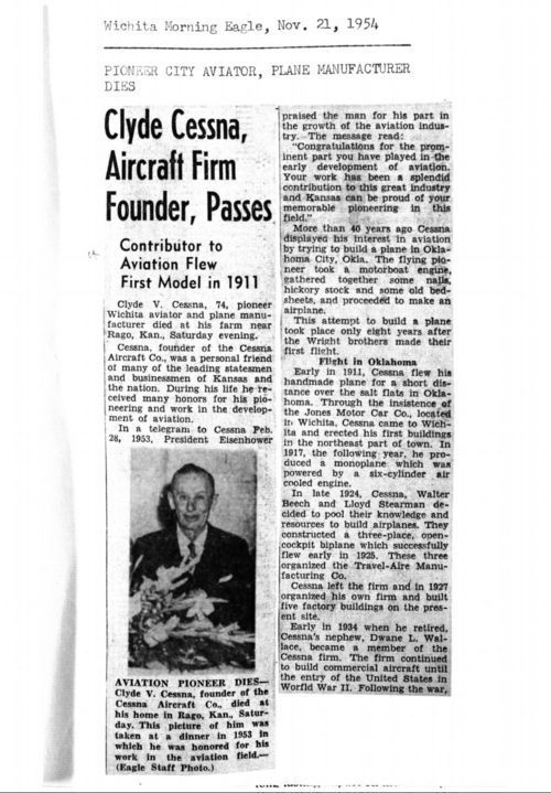 Clyde Cessna, aircraft firm founder, passes - Page