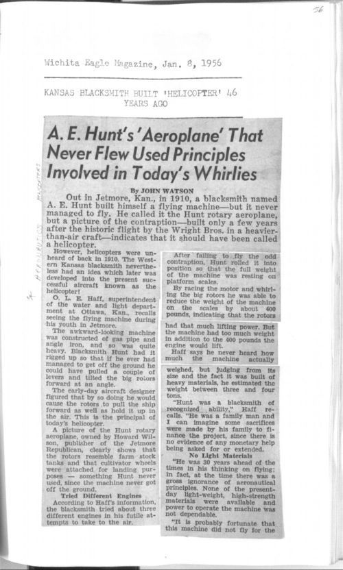 A.E. Hunt's 'aeroplane' that never flew used principles involved in today's whirlies - Page