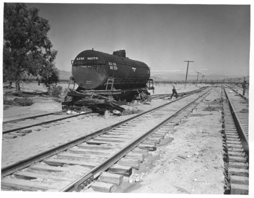 Flood damage to Atchison, Topeka & Santa Fe Railway's line between Barstow and Needles, California - Page