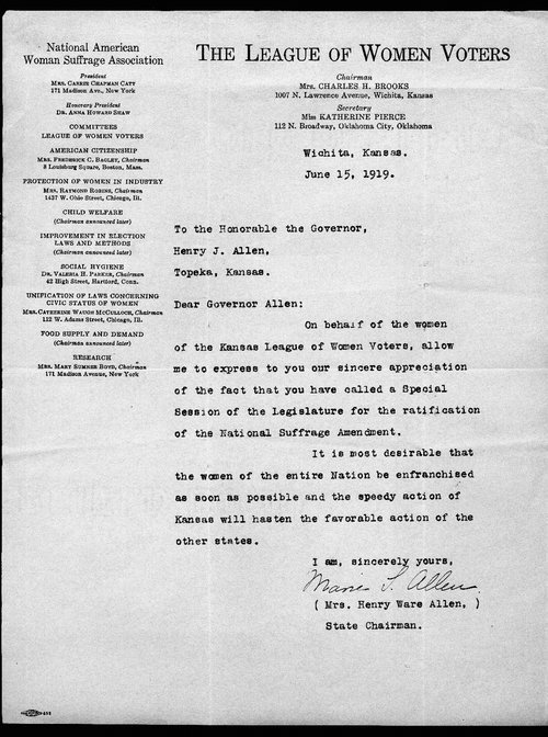 Marie L. Allen  to Governor Henry Allen - Page