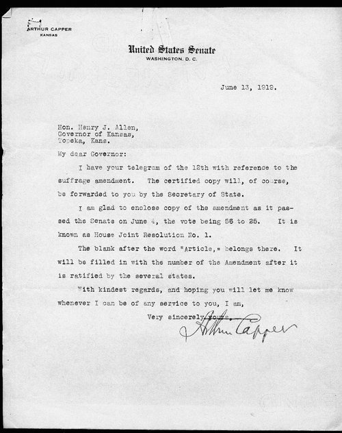 Senator Arthur Capper to Governor Henry Allen - Page