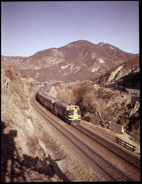 Atchison Topeka & Santa Fe Railway Company westbound freight, Cajon Pass, California - Page