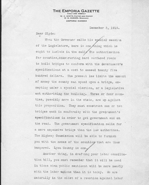 William Allen White to Clyde Reed - Page