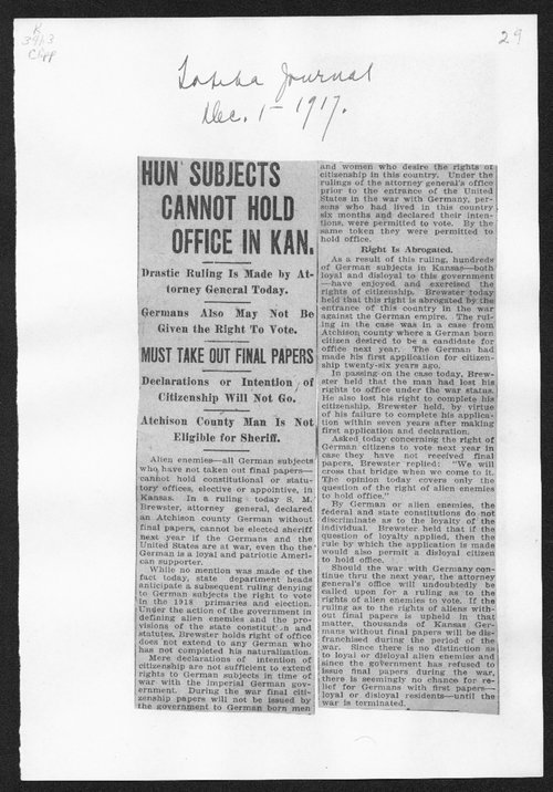 Hun subjects cannot hold office in Kansas - Page