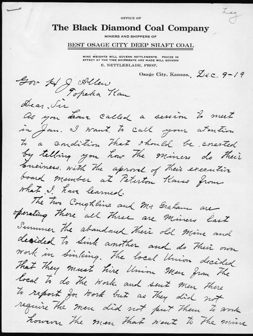 The Black Diamond Coal Company to Governor Henry J. Allen - Page
