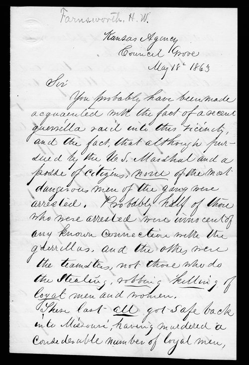 H.W. Farnsworth to Governor Thomas Carney - Page