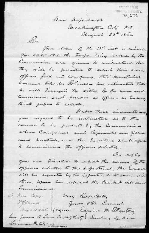 Secretary of War Edwin M. Stanton to General James H. Lane - Page