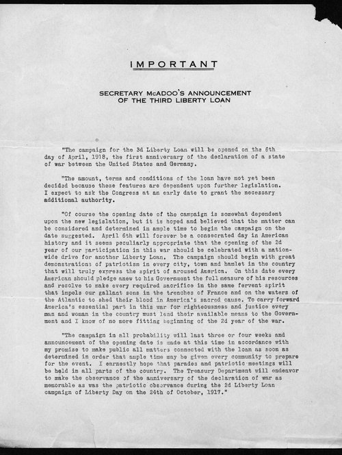 Secretary McAdoo's announcement of the Third Liberty Loan - Page