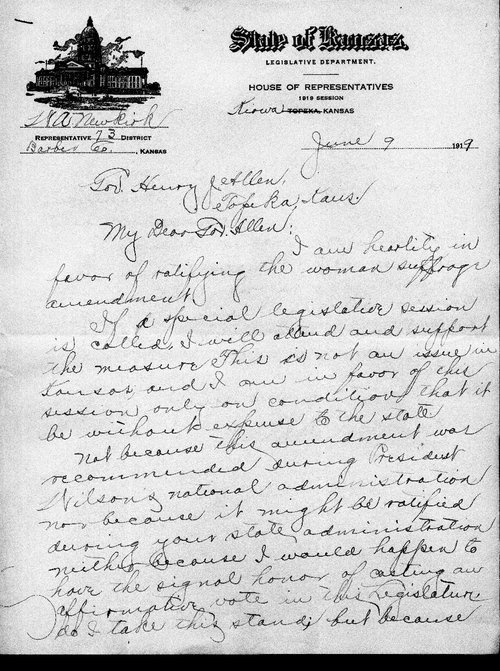 W.A. Newkirk  to Kansas Governor Henry Allen - Page
