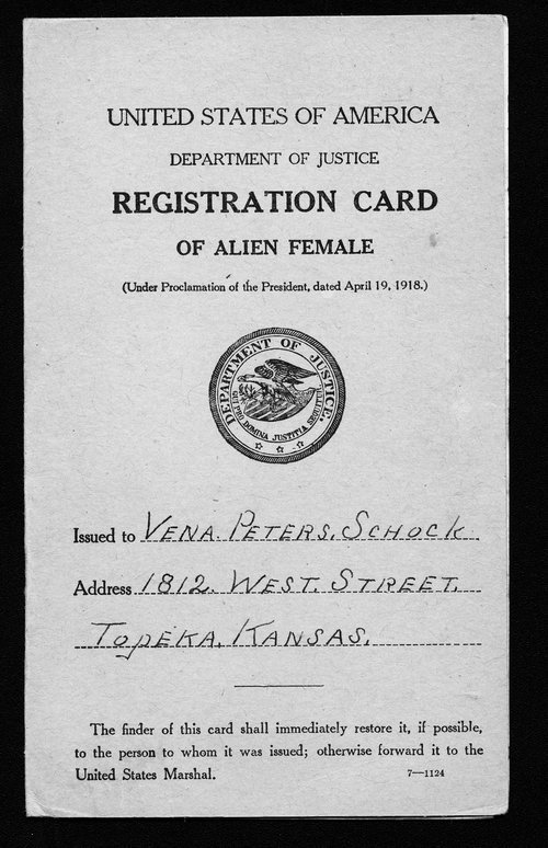 Alien registration card for Vena Peters Schock - Page
