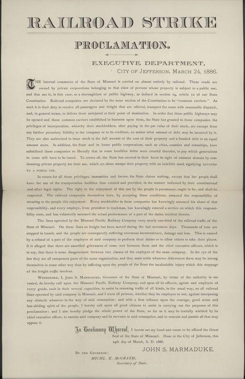 Railroad strike proclamation - Page