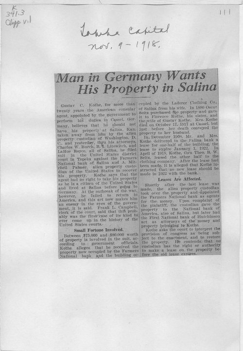 Man in Germany wants his property in Salina - Page