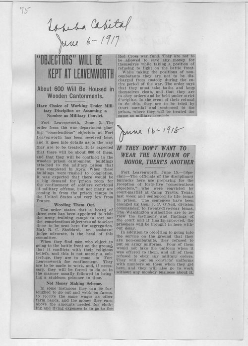 Objectors will be kept at Leavenworth - Page