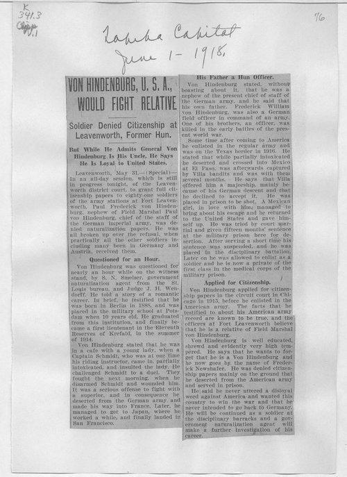 Von Hindenburg, U.S.A., would fight relative - Page