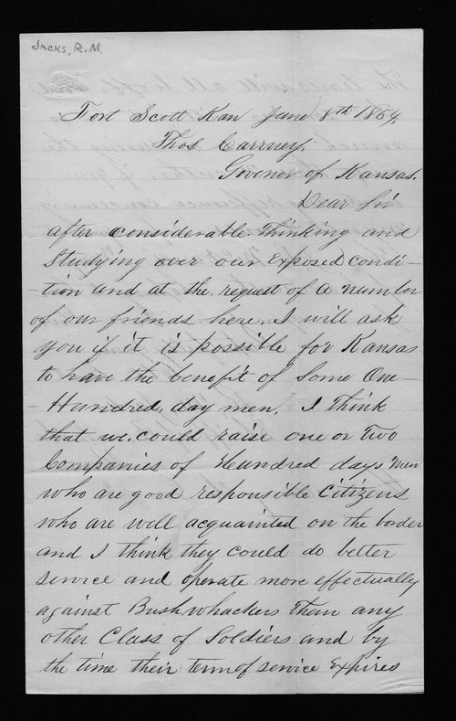 R. M. Jacks to Thomas Carney - Page