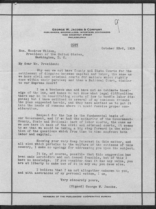 George Jacobs to President Woodrow Wilson - Page