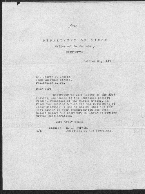 H.L. Kerwin to George W. Jacobs - Page