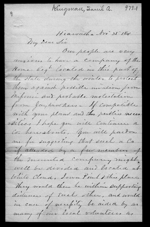 S.A. Kingman to Kansas Governor Charles Robinson - Page