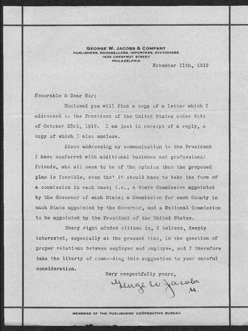 George Jacobs to Governor Henry  Allen - Page