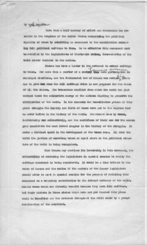 Governor Henry Allen to the Kansas legislature - Page
