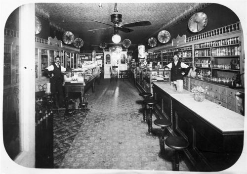 Photograph showing an interior view of E. L. Feagan's Drug Store, Norwich, 1908