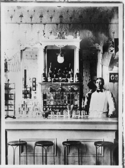 Photograph shows an interior view of the soda fountain in Corbin Drug Store in Clearwater, 1908