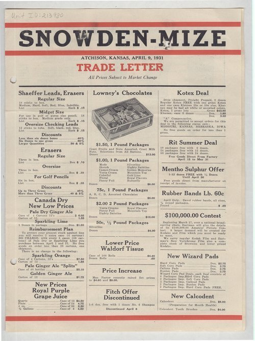 Snowden-Mize Drug Company trade letter, Atchison, Kansas - Page