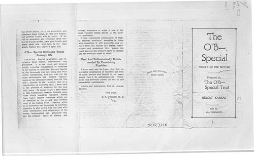 The O'B-- Special patent medicine advertisement, Beloit, Kansas - Page