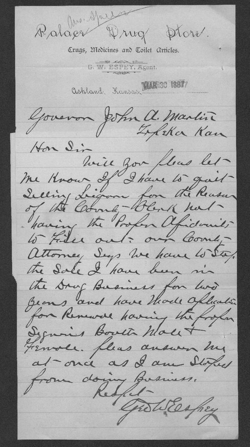 George W. Espey to Governor John A. Martin - Page