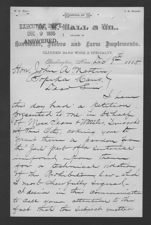 W. E. Hall to Governor John A. Martin - Page