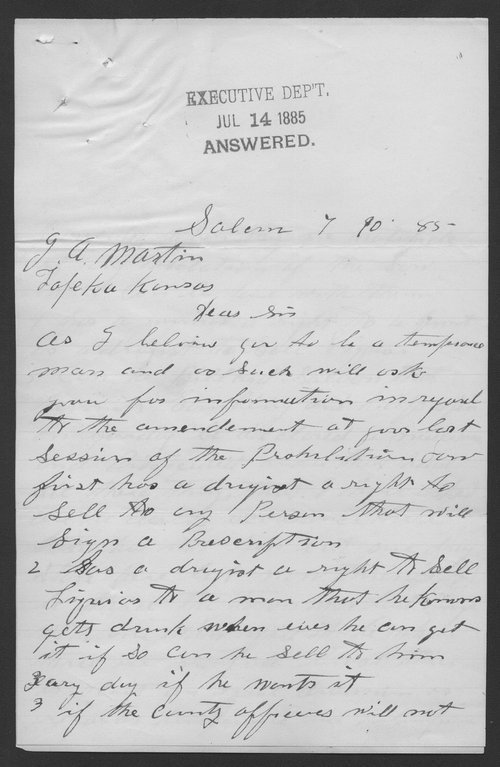 H. Butterfield to Governor John A. Martin - Page