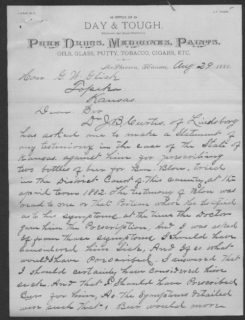 I. W. Day to Governor George W. Glick - Page
