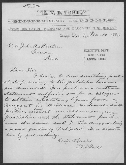 L. V. D. Tosh to Governor John A. Martin - Page