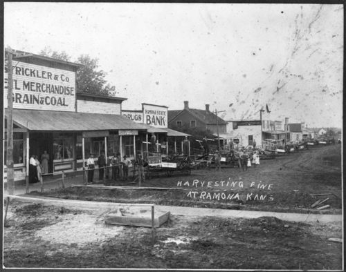 Street scene, Ramona, Kansas,between 1890 and 1909. Agricultural equipment is lined up along the street at harvesting time.