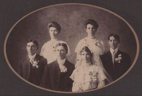 John Henry Blumenthall and Marie Alvina Schmedemann Blumenthall with their wedding party - Page
