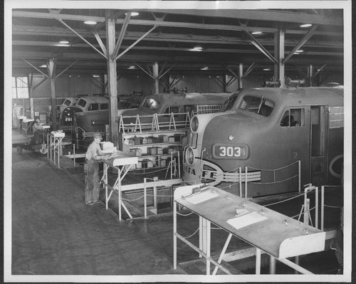 Interior view of Barstow, California, diesel shop - Page