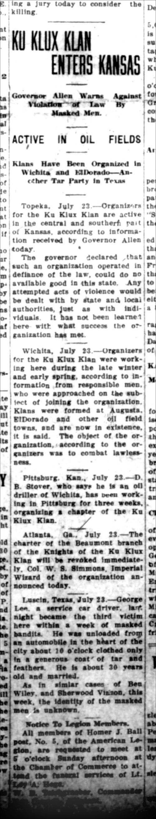 Ku Klux Klan enters Kansas - Page
