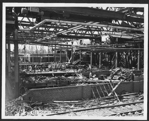 Santa Fe train shop ruins after the tornado, Topeka, Kansas - Page